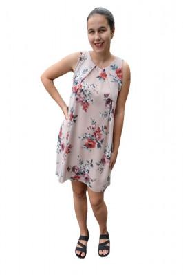 Rochie de vara Aase cu aplicatii de voal si imprimeu floral,nuanta de pudra foto