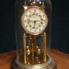 Ceas antic șemineu, birou in cupola din sticla cu fir de torsiune