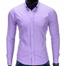 Camasa pentru barbati, violet, simpla, uni, slim fit, elastica, cu guler, bumbac - K219