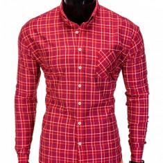 Camasa pentru barbati rosu in carouri mari slim fit elastica casual cu guler buzunar piept k390