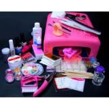 Kit pentru modelare unghii cu lampa UV si gel