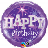 Balon Folie 45cm Happy Birthday Violet, Qualatex 37928