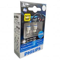 Bec Led W5W 12V 1W / 8000K ( Lumina Bleu ). X-Treme Vision Set 2 Buc Philips