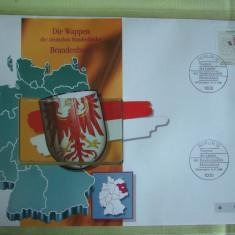Cartela Telefonica + FDC Germania Brandenburg - Exponat Numerotat