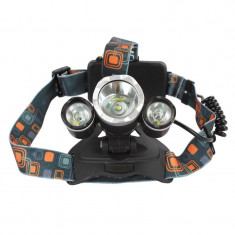 Lanterna frontala, zoom, 3 x Led T6, 6000 lumeni