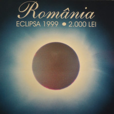 Bancnota ECLIPSA in FOLDER BNR UNC 2000 lei - ROMANIA, anul 1999  *cod 904