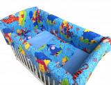 Cumpara ieftin Lenjerie de patut bebelusi 120x60 cm cu aparatori Maxi Distractie cu Aiurila albastru