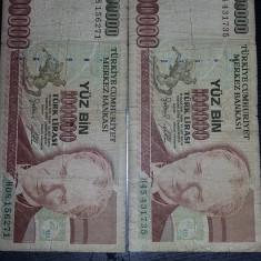 2 Bancnote LIRE TURCESTI 100000 Vechi,Starea care se vede,Tp.GRATUIT