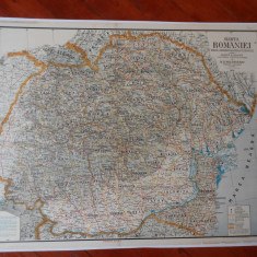 Harta Romania Mare,1933, M.Moldoveanu, caserata,95x65 cm,impecabila