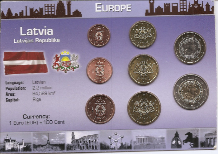 Letonia Set 8 - 1, 2, 5, 10, 20, 50 euro cent, 1, 2 euro 2014 - UNC !!!