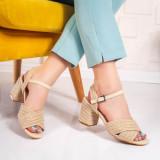 Sandale cu toc dama bej Uderia