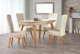 Cumpara ieftin Set masa extensibila din lemn de fag si MDF Orchid Oak + 2 scaune Orchid II + 2 scaune Orchid Light Beige, L140-190xl85xH76 cm