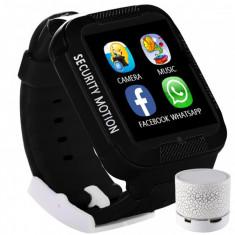 Ceas GPS Copii iUni Kid3, Telefon incorporat, Touchscreen 1.54 inch, Bluetooth, Notificari, Camera, Negru + Boxa Cadou