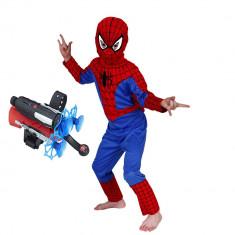 Set costum Spiderman M 110 120 cm si lansator cu ventuze