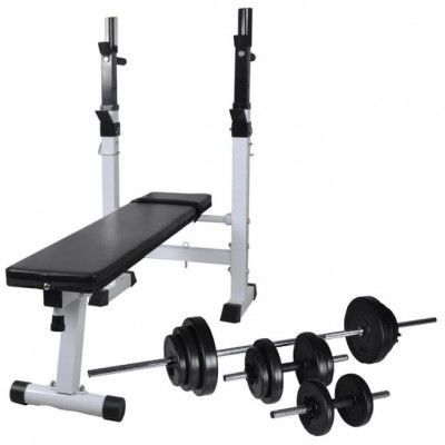Bancă fitness cu rastel greutăți, set haltere/gantere, 30,5kg foto