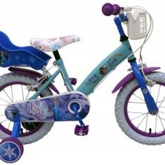 Bicicleta pentru fete 14 inch cu scaun pentru papusi roti ajutatoare si cosulet Frozen