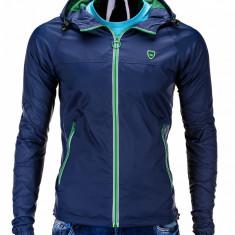 Jacheta pentru barbati din fas slim fit cu fermoar si gluga C203 bleumarin
