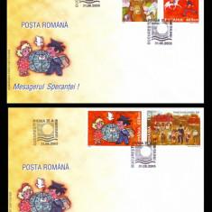 2005 Romania, 2 FDC Inundatii II - Iulie LP 1692, plicuri prima zi