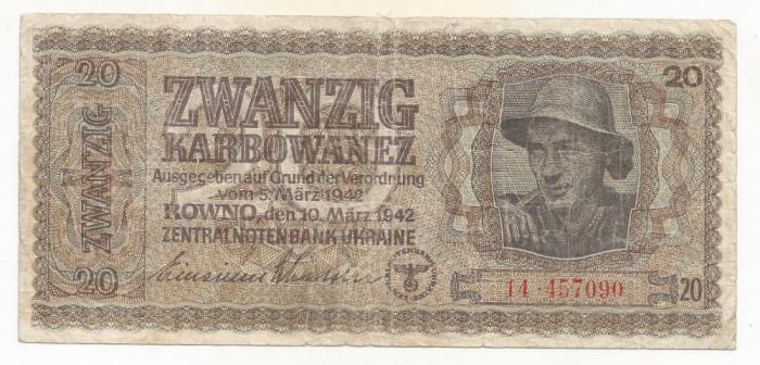 UCRAINA  20  KARBOWANEZ  1942  [2]   P-53 , WW II - Ocupatie Germana