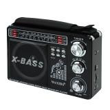 Radio portabil, 3 frecvente AM/FM/SW, MP3, USB, SD, acumulator incorporat, Resigilat, Waxiba