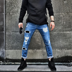 Blugi pentru barbati, albastri, slim fit, conici, casual, skinny, rupturi decorative - 0065