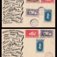 1948 Romania, 2 FDC Saptamana presei democrate, plicuri rare prima zi LP 242
