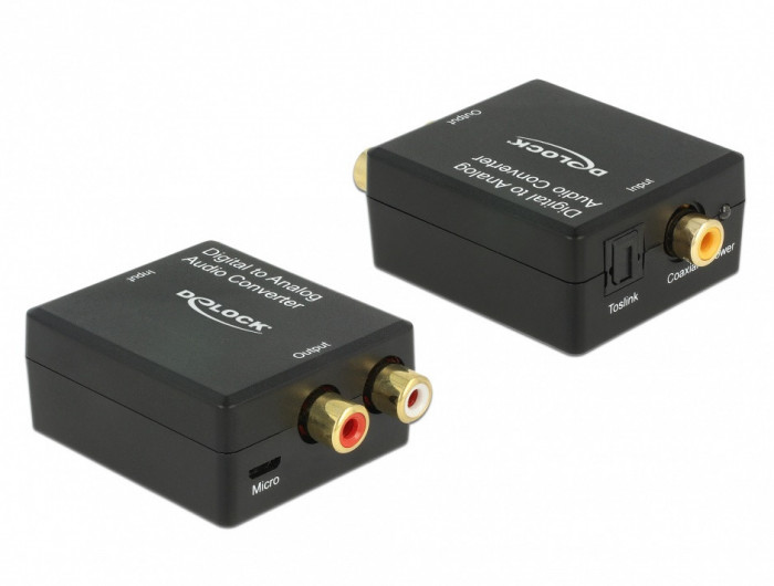 Convertor audio digital S/PDIF la analog RCA HD, Delock 63477