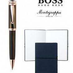 Set Ducale Brown Emperador Rose Gold Ballpoint Montegrappa si Note Pad Hugo Boss