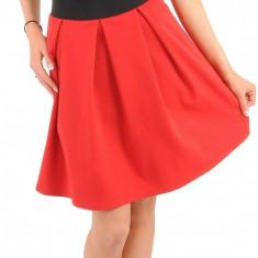 Fusta plisata, din bumbac, rosie, L/XL, S/M, Rosu