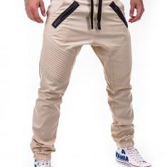 Pantaloni pentru barbati bej cu siret negru banda jos casual elastic P389
