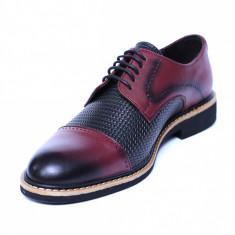 Pantofi barbati din piele naturala, Elvis, Relin, Bordeaux, 39 EU