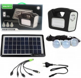 Cumpara ieftin Panou solar fotovoltaic iluminare 3 becuri lanterna incarcare telefon 2 lampi