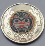 Monedă 2 Dollars 2020 Canada, Bill Reid, Haida Grizzly Bear, unc, varianta color, America de Nord