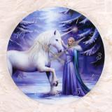 Ceas de perete din sticla, zana si unicorn, Magie Pura - Anne Stokes