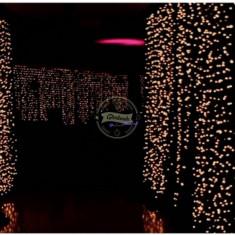 Perdea luminoasa exterior cablu negru, 3 x 3 m inaltime, lumina calda