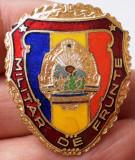 I.492 ROMANIA RSR INSIGNA MILITARA MILITAR DE FRUNTE h35mm email VARIANTA MICA