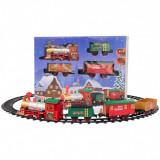 Set tren de craciun cu sunete si lumini, o locomotiva, 3 vagoane si sina, Oem