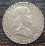 (A165) MONEDA DIN ARGINT SUA - HALF DOLLAR 1952, LIT. D, BENJAMIN FRANKLIN