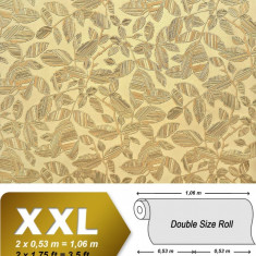 Tapet masliniu model floral si finisaj metalic cu fundal mat 923-38