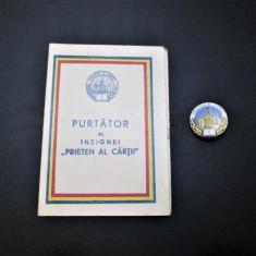 """Carnet vechi, Lugoj 1957: Purtator al Insignei """"Prieten al cartii"""" + Insigna"""
