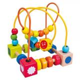 Jucarie Labirint cu spirale si bile din lemn colorat