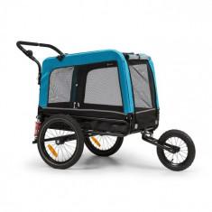 KLARFIT Husky Vario, 2-în-1, cărucior pentru câini, bugină pentru câini, aproximativ 240L, 600D, Oxfort, albastru
