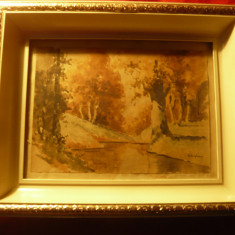Tablou - Acuarela - Peisaj- Parau in padure ,semnat Silaghi ,dim.15x21,5 cm
