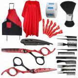 Set complet frizerie coafor foarfeca tuns filat rosu negru brici metalic manta