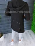Cardigan barbati negru cu gluga slim fit ZR T3601