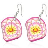 Cercei Fimo - cerc roz ondulat, floare cu centru galben