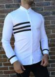 Cumpara ieftin Camasa tunica alba dungi - camasa tunica LICHIDARE STOC camasa slim #205, L, S, XL, XXL, Maneca lunga