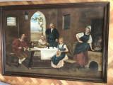 Tablou,pictura belgiana in ulei pe panza,familie burgheza, Scene gen, Altul