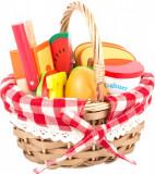 Cos de picnic cu alimente din lemn