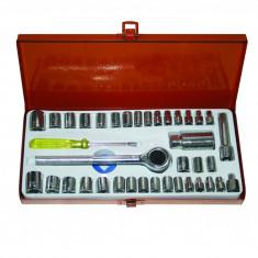 Set chei tubulare Gadget, 1/4-3/8 inch, 4-16 mm, otel, cutie depozitare inclusa, 40 piese